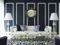 Navy Walls + White Moulding