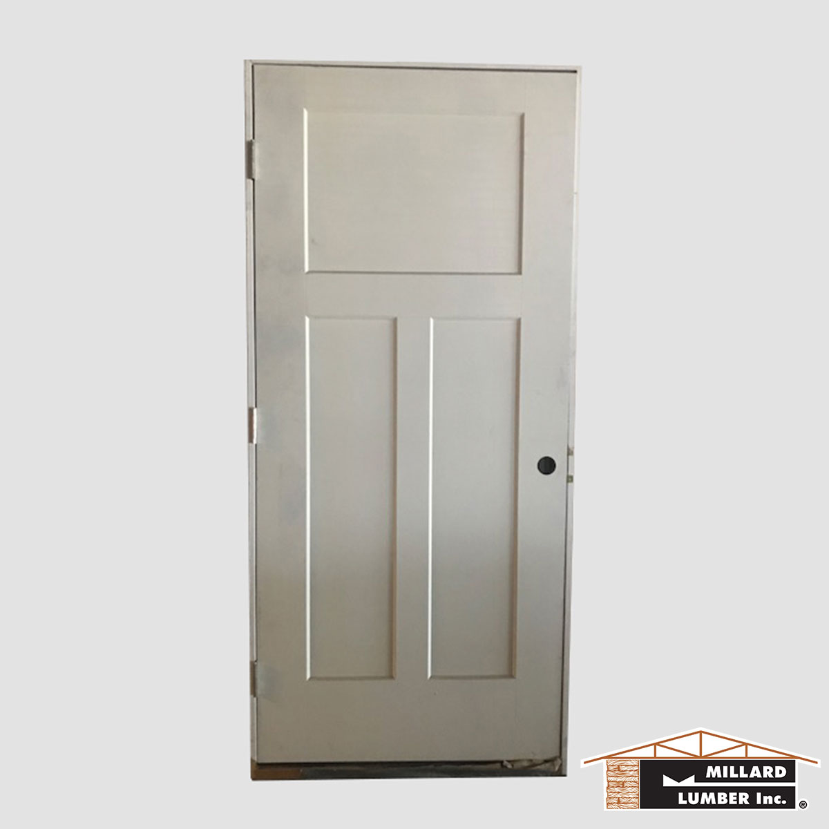 Good 3 Panel Exterior Solid Core Prehung Door   1 Available